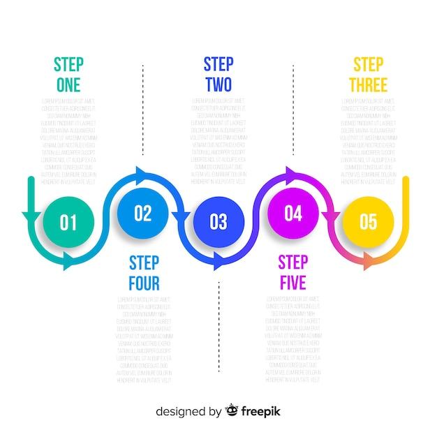 Set van platte infographic stappen Gratis Vector