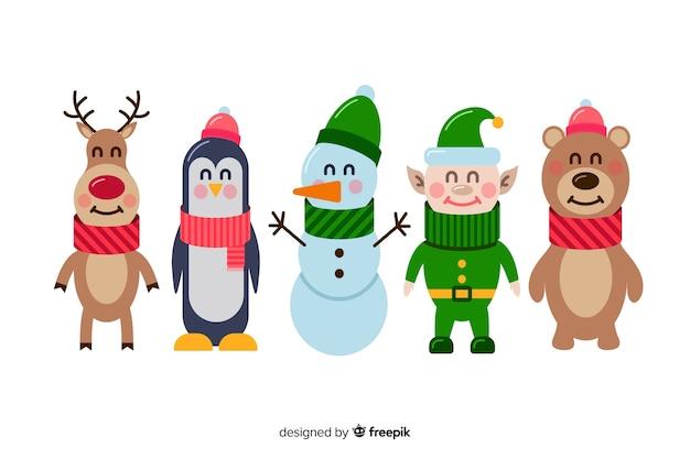 Set van platte kerst tekens Gratis Vector