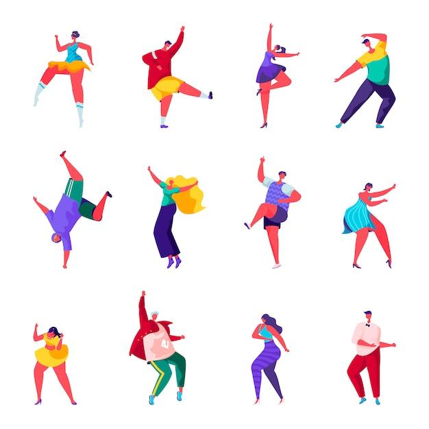Set van platte mensen dansen op een feest personages Premium Vector