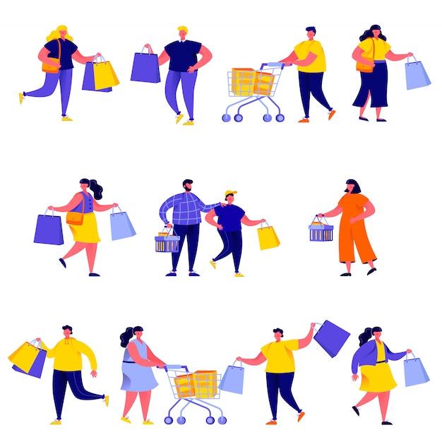 Set van platte mensen die boodschappentassen met aankopen tekens Premium Vector