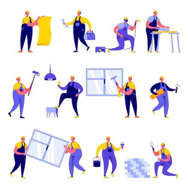 Set van platte mensen thuis reparatie werknemer karakters Premium Vector