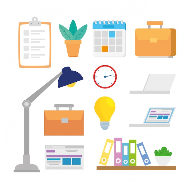 Set van platte office-elementen Premium Vector