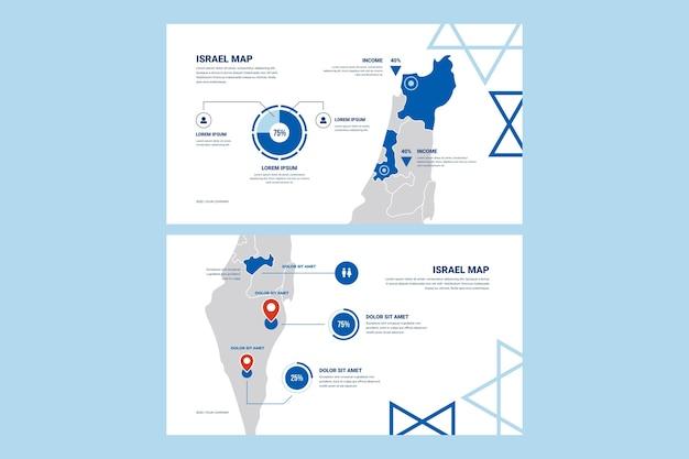 Set van platte ontwerp infographic israël kaart Gratis Vector
