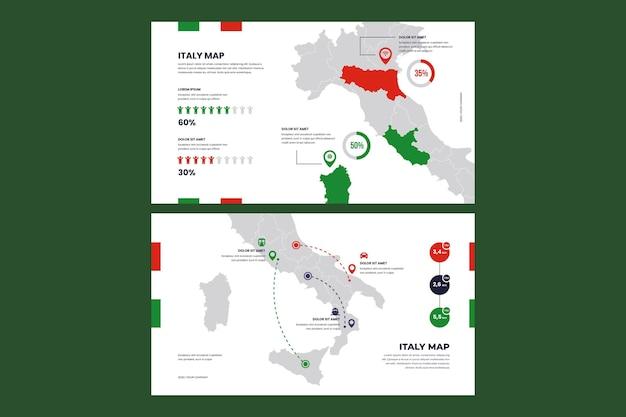 Set van platte ontwerp infographic kaart van italië Gratis Vector