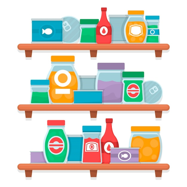 Set van platte ontwerp pantry met verschillende soorten voedsel Gratis Vector