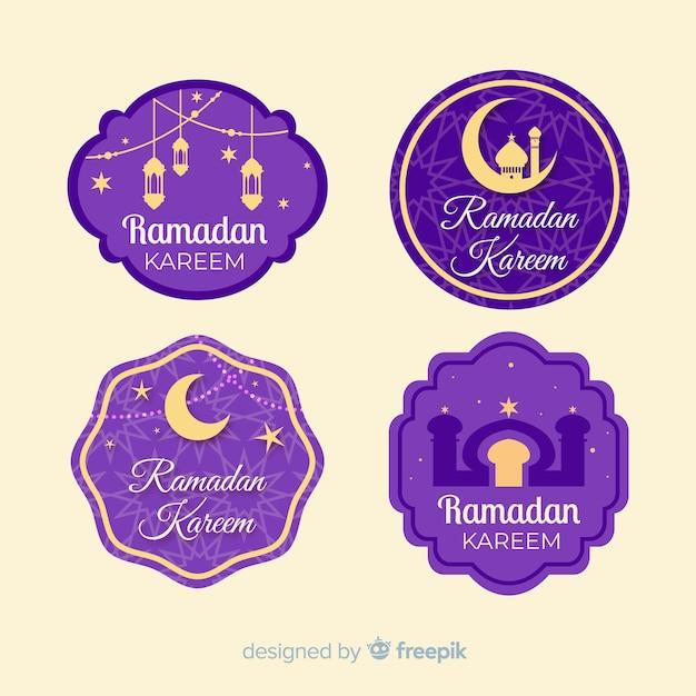 Set van platte ontwerp ramadan badges Gratis Vector