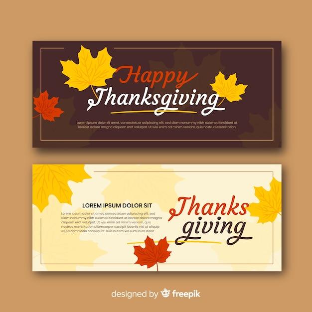 Set van platte ontwerp thanksgiving day banners Gratis Vector