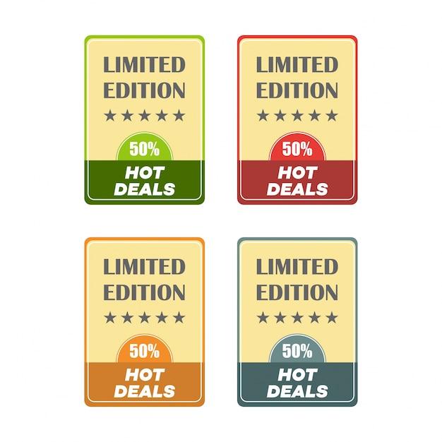 Set van platte ontwerp verkoop stickers vector illustraties voor online shopping product promoties website en mobiele website badges advertenties afdrukmateriaal Gratis Vector