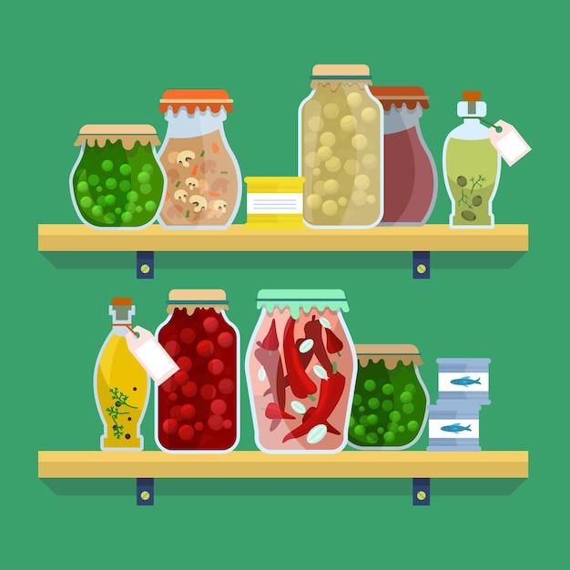 Set van platte pantry geïllustreerd Gratis Vector