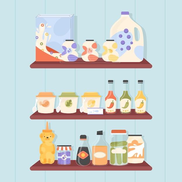 Set van platte pantry met verschillende soorten voedsel Premium Vector