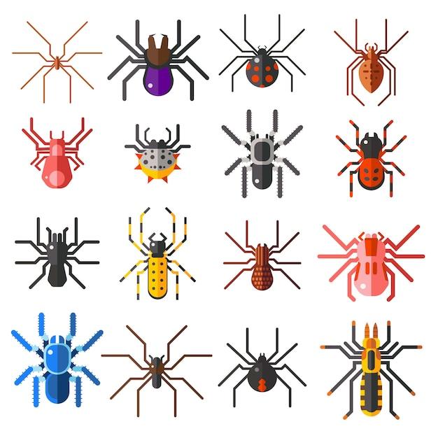 Set van platte spinnen cartoon gekleurde pictogrammen illustratie Premium Vector