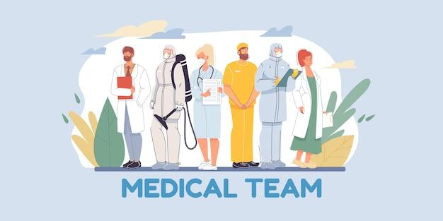 Set van platte stripfiguren arts en verpleegsters in uniforme afbeelding Premium Vector