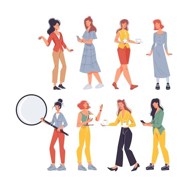 Set van platte stripfiguren van verschillende beroepen in verschillende poses Premium Vector