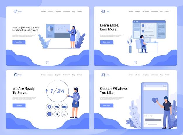 Set van platte webpagina sjablonen van zakelijke apps, onderzoek en ontwikkeling, klantenservice Premium Vector