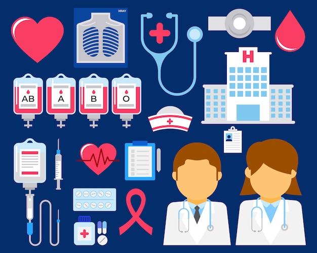 Set van platte ziekenhuis element illustratie vector Premium Vector