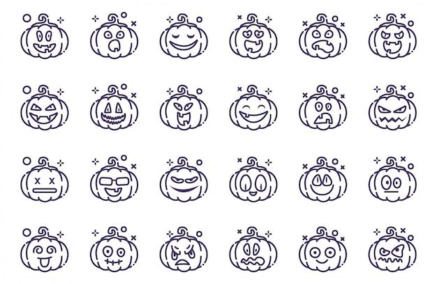 Set van pompoenen voor halloween Premium Vector