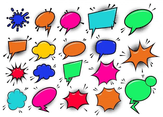 Set van pop-art stijl komische cartoon tekstballonnen. element voor poster, kaart, banner, flyer. beeld Premium Vector