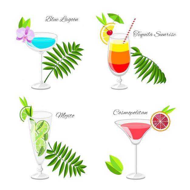Set van populaire cocktails versierd met fruitplakken en tropische bloemen cartoon-stijl. Premium Vector