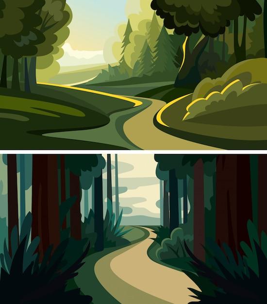 Set van prachtige boslandschappen. natuurlijke landschappen in cartoon-stijl. Premium Vector