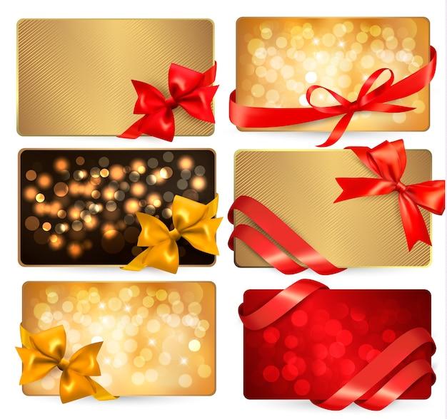 Set van prachtige gif-kaarten met rode geschenkbogen met linten Premium Vector