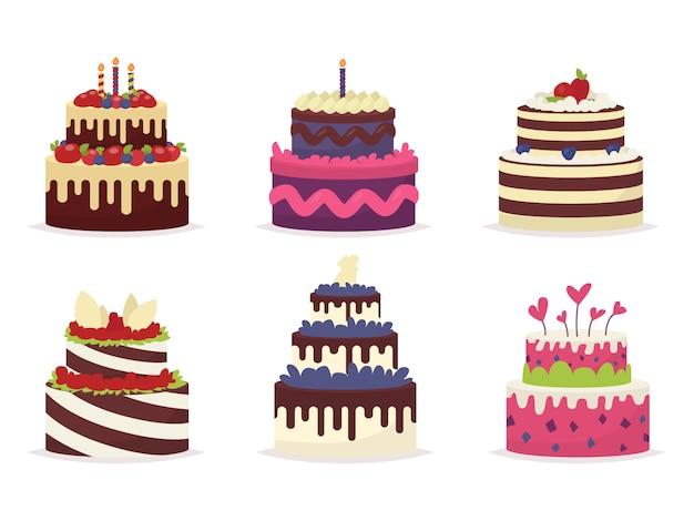 Set van prachtige taarten voor verjaardagen, bruiloften, jubilea en andere feesten. illustratie van een Premium Vector