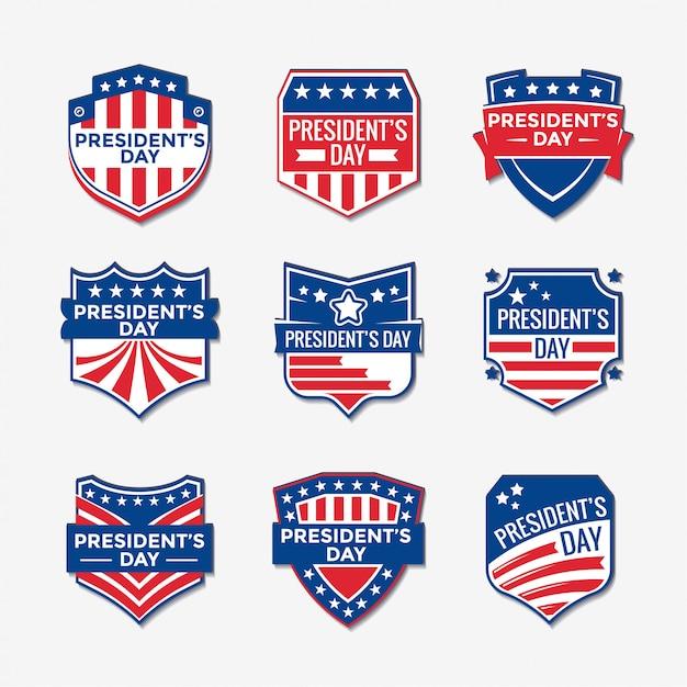 Set van president's day logo ontwerp Premium Vector
