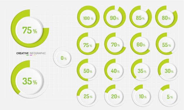 Set van procentuele diagrammen Premium Vector