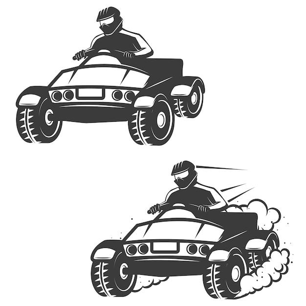 Set van quad met chauffeur pictogrammen op witte achtergrond. elementen voor logo, label, embleem, teken, merk, poster. Premium Vector