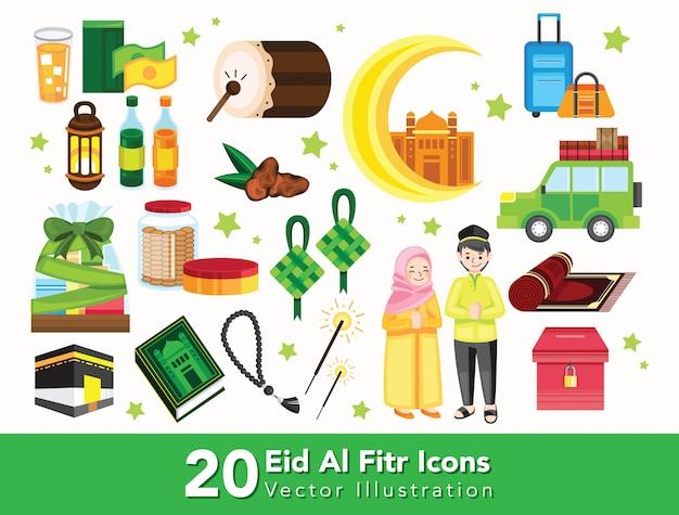 Set van ramadan doodle Premium Vector