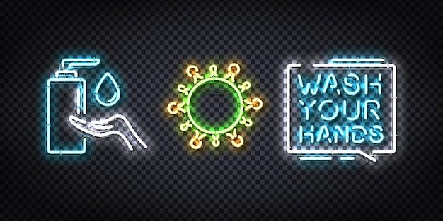 Set van realistisch neonteken van sanitizer-logo Premium Vector