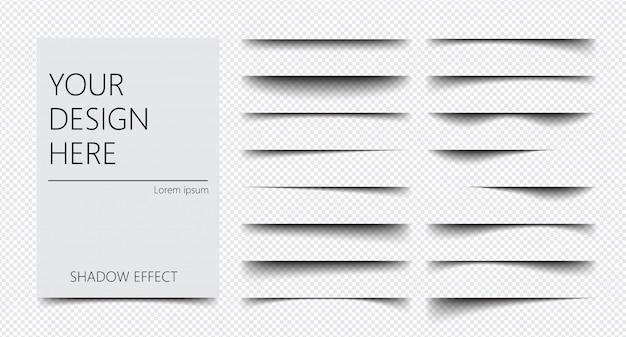 Set van realistisch schaduweffect op een transparante achtergrond verschillende vormen, paginascheiding Premium Vector