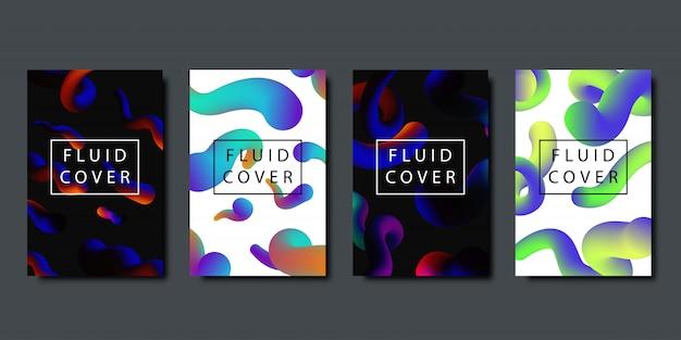 Set van realistische brochures met vloeibare vloeibare vormen met geometrische gradiënt voor decoratie en bedekking op de donkere achtergrond. Premium Vector