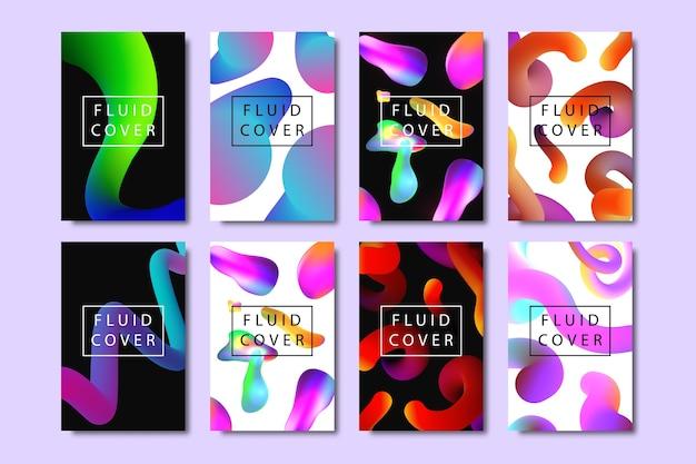Set van realistische brochures met vloeibare vloeibare vormen met geometrische gradiënt voor decoratie en bedekking op de lichte achtergrond. Premium Vector