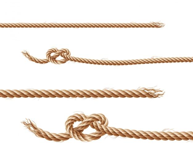 Set van realistische bruine touwen, jute of hennep gedraaide koorden met lussen en knopen Gratis Vector