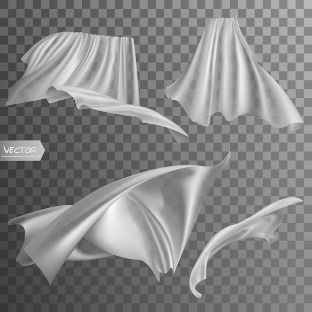 Set van realistische fladderende witte kleding. Premium Vector