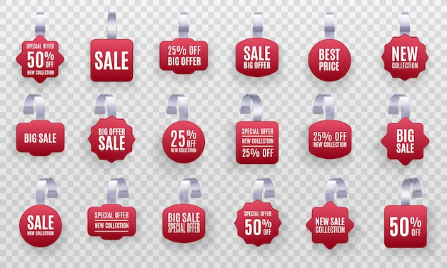 Set van realistische gedetailleerde 3d rode wobbler promotie verkoop etiketten geïsoleerd op een transparante achtergrond. kortingssticker, speciale aanbieding, plastic prijsbanner, label voor uw ontwerp. Premium Vector