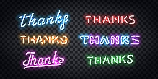 Set van realistische geïsoleerde neon teken van bedankt typografie logo voor sjabloondecoratie en lay-outbedekking op de transparante achtergrond. Premium Vector