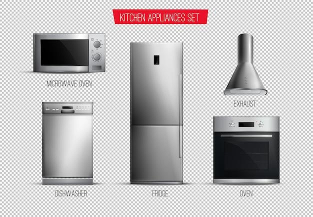 Set van realistische hedendaagse keukenapparatuur vooraanzicht geïsoleerd op transparant Gratis Vector