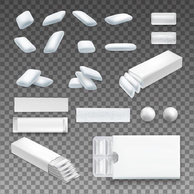 Set van realistische kauwgom van verschillende vorm in witte kleur op transparante geïsoleerd Gratis Vector