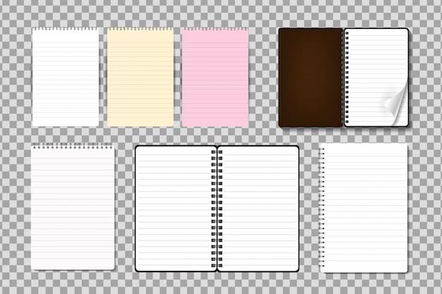 Set van realistische kladblok op de transparante achtergrond. realistische papieren mock-up sjabloon voor bedekking, branding, huisstijl en reclame. Premium Vector