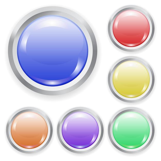 Set van realistische kleur plastic knop met patch van licht en metalen frame Premium Vector