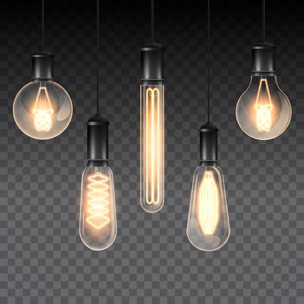 Set van realistische lichtgevende lampen, lampen die op een draad hangen. gloeilamp. geïsoleerd op een geruit donker. Premium Vector