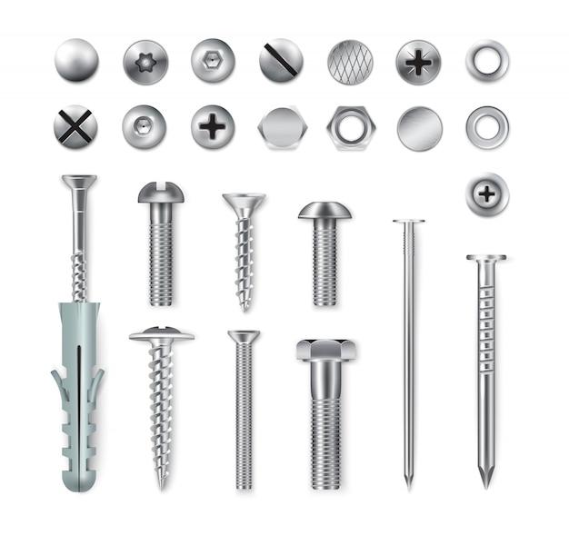 Set van realistische metalen bevestigingsartikelen schroeven bouten moeren nagels geïsoleerd op wit Gratis Vector