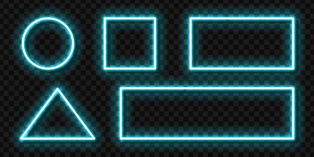 Set van realistische neon teken van blauw frame voor sjabloon uitnodiging decoratie en lay-out promo bekleding op de transparante achtergrond. Premium Vector