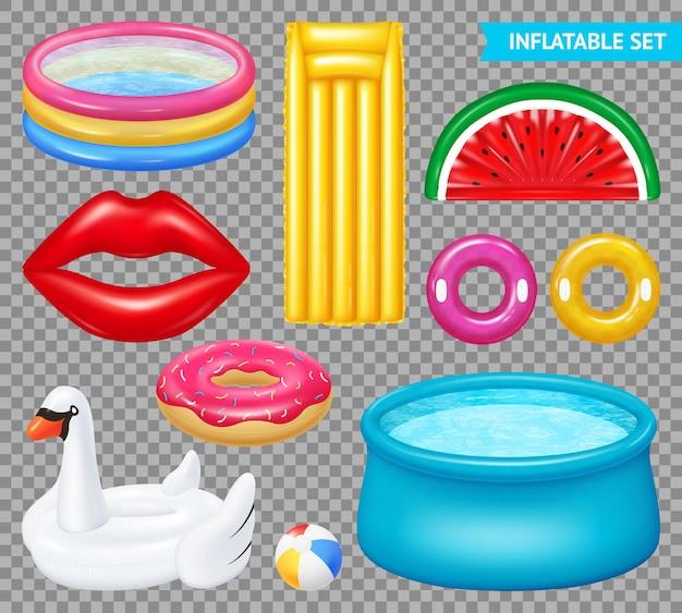 Set van realistische opblaasbare objecten zwembaden en zwemuitrusting geïsoleerd op transparant Gratis Vector