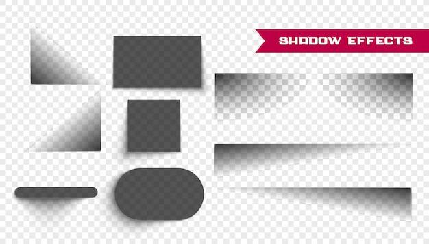 Set van realistische schaduwen op transparant Gratis Vector