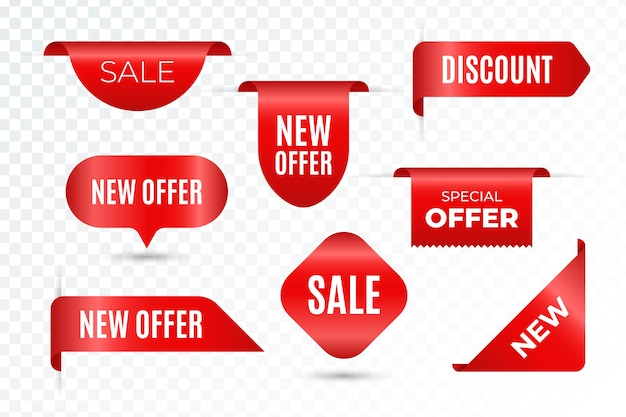 Set van realistische verkoop tags met tekst Premium Vector
