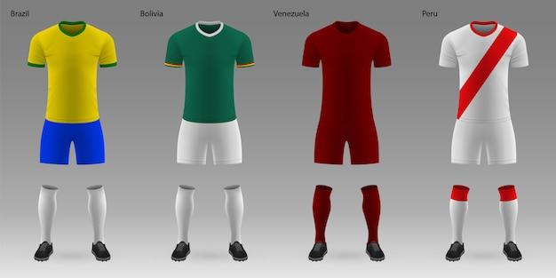 Set van realistische voetbal kits Premium Vector