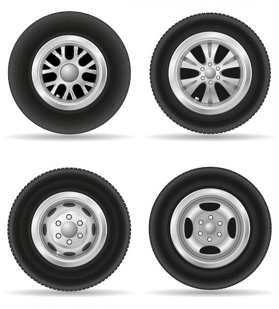 Set van realistische wiel voor auto vectorillustratie Premium Vector
