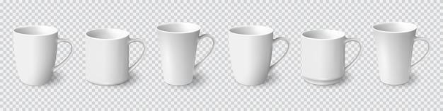 Set van realistische witte koffiemokken geïsoleerd Premium Vector